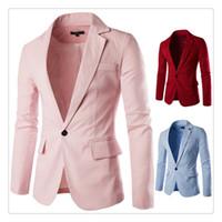 basic grains - Suits for Men Spring autumn Fashion Pure Color Basic Models Men s A Grain of Button Casual Linen Suits US SIZE XS L