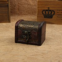 Wholesale Factory sell Vintage Jewelry Box handmade Organizer Storage shabby mini Wooden Treasure Chest Box