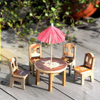 Wholesale Wooden Dollhouse Miniature Furniture Mini Dining Room pc Table Table Chair Miniature Craft Landscape Garden Decor