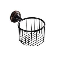al por mayor metal in roll-Nuevo diseño montado en la pared de accesorios de baño de acabado negro de antigüedades / titular de papel higiénico / cuarto de baño fija titular rollo de papel higiénico para la venta de casa