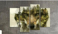 Wholesale Hot selling modern wolf designs wall art pictures panels unframed canvas paintings home decoration paintings