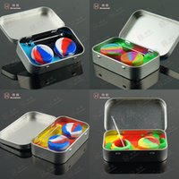 Wholesale Novelty tin box silicone bho oil storage jars dab wax container for concentrate shatter with titanium dabber pick tool