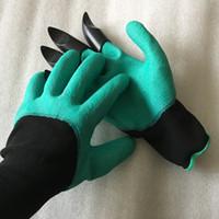 Садовые джинсовые перчатки с 4 когтями, изготовленными из когтей OPP BAG, простой способ озеленения сажать перчатки для посадки, водонепроницаемые, устойчивые к шипам DHL free