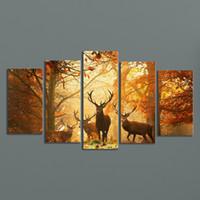 achat en gros de cadres numériques personnalisés-Moderne, numérique, image, toile, toile, animal, cerf, mur, cadre, panneaux, Photo, 5, pièces, mur, art, images, maison, mur