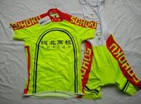 Wholesale Sapporo high school sohoku fluorescent yellow clothing made of Italian mesh material cycling jerseys New Design Bicycle Clothing