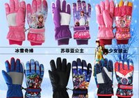 Wholesale 14 Styles of Disney cartoon Children s gloves High quality winter ski gloves waterproof gloves boy girl thick cotton Christmas gift