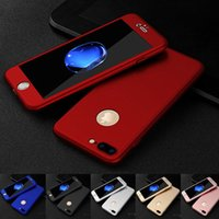Wholesale iPhone Case FUll Coverage With Tempered Glass Degree Cover Protection Hard PC Case For iPhone Plus S Plus S Free Ship