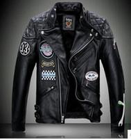 Wholesale M XL New Autumn winter Genuine leather brand short slim men Leather jacket design cowhide skull leather clothing