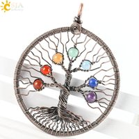 Asian & East Indian antique brass wire - CSJA New Tree of Life Handmade Jewelry Chakra Stone Bead Antique Copper Wire Whole Wrap Pendant Leather Rope Strands Strings Necklace E268