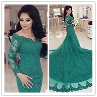alibaba dresses - New Arrive V neck Long Sleeves Evening Gowns China Alibaba Western Styles Lace Beautiful Long Tail Green Color Mermaid Evening Dresses