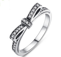 authentic african jewelry - New Authentic Sterling Silver Shining AAA Zircon Bowknot Rings For Women Wedding Jewelry US Size yz
