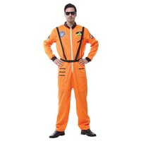 adult astronaut suit - Halloween Cosplay Costumes Clothing Adult Stage White Orange Suits Spacesuit Collection Handsome Astronaut Long Sleeve for Party