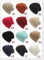 Wholesale 12 color Winter Beanies Cap Unisex hat Trendy Warm Oversized Chunky Soft Oversized Cable Knit Slouchy Beanie