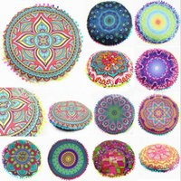 Wholesale Mandala Round Cushion Pillow Cover Indian Bohemian Flowers Pillowcase Styles Polyester Pillowslip Home Decoration OOA1574