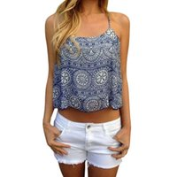 Wholesale Women Summer Style Crop Top Ethnic Print Camis Tee T Shirt Sexy Camis Casual Tank Tops Vest