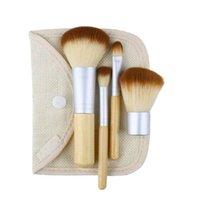 El precio más bajo Nuevo producto en polvo Fundación Protección del medio ambiente Bambú Maquillaje cepillo fibra de la herramienta cerdas 4Pcs / Set
