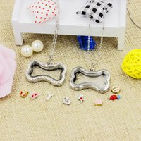 Wholesale Small dog bone shape magnetic crystal DIY floating memory living locket pendant gift for hot selling retailer with free chains