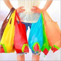 Wholesale Nylon Portable Creative Strawberry Foldable Shopping Bag Reusable Eco Friendly Shopping Tote Super Market Bag Pouch Handbag