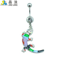 bell for sell - Promotion DIY Top Selling High Quality Fashion Silver Pole Colorful Oil Drop Gecko Navel Piecing Rings For Women Body Piecing Jewelry