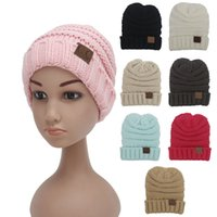 Wholesale Luxury Garden Wholesale - Chrildren CC Trendy Hats Winter Knitted Woolen Beanies Label Fedora Luxury Cable Slouchy Skull Caps Fashion Leisure Beanies Outdoor Hats