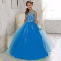 Girl Rhinestone Tulle 2016 Wedding Flower Girls Dresses For Weddings Sheer Neck Crystal Beaded Sequined Princess Ball Gowns Lovely Girls Pageant Dresses Lace up