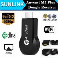 Compra Androide dlna palo de televisión-2016 Hot AnyCast M2 WiFi Receptor de pantalla DLNA AirPlay Miracast Dongle TV Stick para Windows Android iOS Mac Dispositivo HDMI 1080P