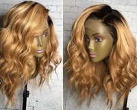 Wholesale bT Full Lace Blonde Human Hair Wigs Curly Brazilian Ombre Full Lace Wig With Natural Hairline Baby Hair For Fashion Women