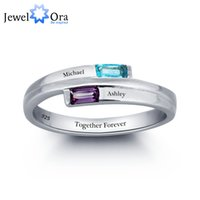 amethyst birthstone ring - Personalized Engraved Names Birthstone Jewelry Sterling Silver Cubic Zirconia Ring Free Gift Box JewelOra RI101782