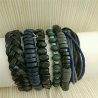Wholesale HOT Set Round Black Wood Leather Handmade Adjustable beads Bracelets Bangle For Men Cuff Vintage Jewelry Accessories