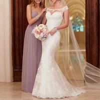 Wholesale White Lace Wedding Dress Court Train Appliques Mermaid Wedding Dresses Elegant Bride Dresses Vestidos De Baratos Wedding Gowns