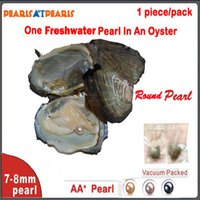 Wholesale 100pcs Individually Vacuum Packed Oyster with Single AA mm Round Pearls Cultured in Fresh Oyster