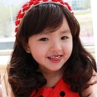 Wholesale Children Wigs Curly Baby Kid Pear Head Photography Camera Baby Girl Lovely Princess Wigs Hair Synthetic Full Head Cuty Wavy Hair