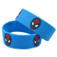 amazing logos - The Amazing Spiderman Logo Bracelet Colour Filled In Silicon Wristband quot Wide Blue Red