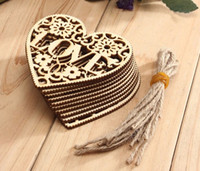 Wholesale 2017 decorative crafts quot LOVE quot Letter wood crafts Wooden Hollow Flower Hearts with String home wedding DIY Crafts gift