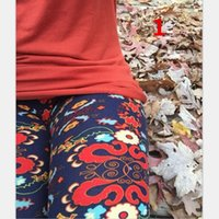 Wholesale European Women floral printed Leggings New Fashion Slim Feather Flower Printed Elastic Pants Trousers