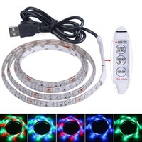 Wholesale Smd 3528 Led Strip Multicolor - 50CM Waterproof RGB Flexible USB LED Strip Lights 3528 SMD 30 Leds TV Background Lighting Kit w 5V USB Cable Remote Controller(Multicolor)