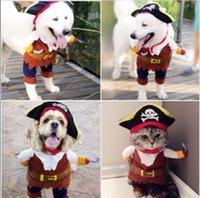 Wholesale Halloween Funny Pet Dog Cat Pirate Clothes Costume Dress Costume Suit Outfit Apparel S XL Your Best Choice