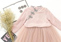 Wholesale 2016 New Fashion Elegant Summer Girl chinese style children girls dress cheongsam velvet baby clothes
