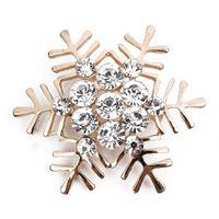 Wholesale Rhinestone Crystal Snowflake Christmas Brooch Pin Lady Brooch Christmas Gift