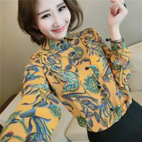 acrylic paint shirt - Fall new women s aristocratic temperament of restoring ancient ways is long sleeve shirt cultivate one s morality show thin joker prin