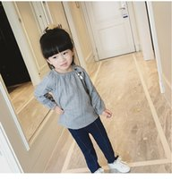 Wholesale Autumn New Paragraph Long Sleeved Round Neck Pullovers Baby Leisure Loose Cotton Shirt Girls Shirts