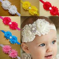 Wholesale 10 colors Children s hair accessories Headbands baby flowers woven cross hair band headbands cotton elastic cloth baby Headwear