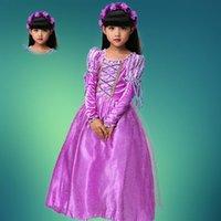 autumn garland - Rapunzel Princess girl dress Party Dress Halloween Xmas Tangled Cosplay Costume Girl Clothes Fantasia Vestidos Free garland oversleeves