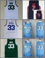 verts d'oiseaux achat en gros de-1992 USA Dream Team Larry Bird Jersey 7 Throwback Indiana State Sycamores 33 Larry Bird College Maillots Accueil Green White Navy Blue