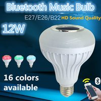 Wholesale LED Bluetooth Music Bulb with changeing colors Keys Remote Controller AC90 V W E26 Base Free of shipping