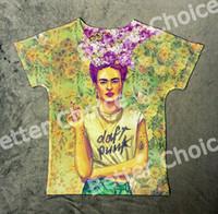 artist t shirt - Track Ship Vintage Retro Picture Pop T shirt Top Tee Tattoo Flower On Head Frida Kahlo Artist Smoking Smoke