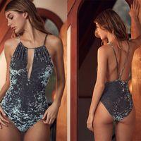 Wholesale 2017 Velvet Bodysuit Sexy One Piece Swimsuit Halter Swimwear Women Bathing Suit Swimming Suit for Women Beach Wear Bikini plus size s xl