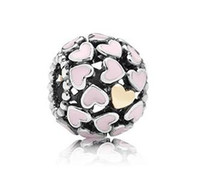 Wholesale 925 Sterling Silver European Floating Openwork Heart Charm with K and Pink Enamel Beads for DIY Bracelet Charms