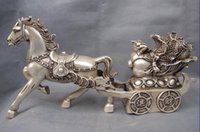 antique copper pulls - Chinese Folk White Copper Silver Fengshui Lucky Wealth Horse Pull cabbage Statue