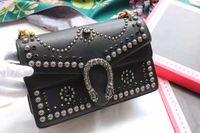 Wholesale new arrival fashion women rivet rhinestone black leather size cm shoulder bag female handbag street style bag